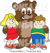 Vector Illustration of a Cartoon Bear Mascot with Students by Toons4Biz