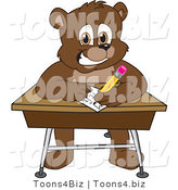 Vector Illustration of a Cartoon Bear Mascot Writing on a Desk by Toons4Biz