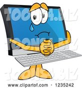 Vector Illustration of a Cartoon Begging and Crying PC Computer Mascot by Toons4Biz