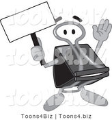 Vector Illustration of a Cartoon Binder Clip Mascot Holding a Blank Sign by Toons4Biz