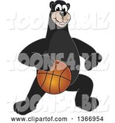 Vector Illustration of a Cartoon Black Bear School Mascot Dribbling a Basketball by Toons4Biz