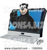 Vector Illustration of a Cartoon Black Bear School Mascot Emerging from a Desktop Computer Screen by Toons4Biz