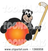 Vector Illustration of a Cartoon Black Bear School Mascot Grabbing a Ball and Holding a Hockey Stick by Toons4Biz