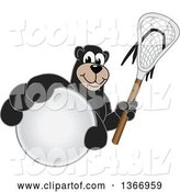 Vector Illustration of a Cartoon Black Bear School Mascot Grabbing a Ball and Holding a Lacrosse Stick by Toons4Biz