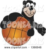 Vector Illustration of a Cartoon Black Bear School Mascot Grabbing a Basketball by Toons4Biz
