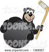 Vector Illustration of a Cartoon Black Bear School Mascot Grabbing a Puck and Holding a Hockey Stick by Toons4Biz