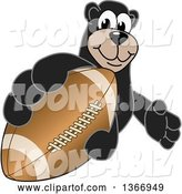 Vector Illustration of a Cartoon Black Bear School Mascot Grabbing an American Football by Toons4Biz