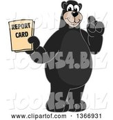 Vector Illustration of a Cartoon Black Bear School Mascot Holding a Report Card by Toons4Biz