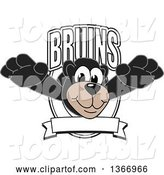 Vector Illustration of a Cartoon Black Bear School Mascot Leaping Outwards from a Bruins Shield by Toons4Biz