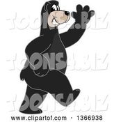Vector Illustration of a Cartoon Black Bear School Mascot Walking and Waving by Toons4Biz