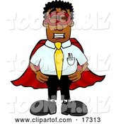 Vector Illustration of a Cartoon Black Business Man Mascot Dressed As a Super Hero by Toons4Biz