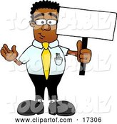 Vector Illustration of a Cartoon Black Business Man Mascot Holding a Blank Sign by Toons4Biz