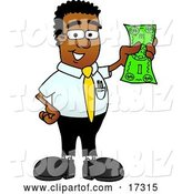 Vector Illustration of a Cartoon Black Business Man Mascot Holding a Dollar Bill by Toons4Biz
