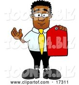 Vector Illustration of a Cartoon Black Business Man Mascot Holding a Red Sales Price Tag by Toons4Biz