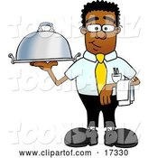 Vector Illustration of a Cartoon Black Business Man Mascot Holding a Serving Platter by Toons4Biz