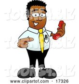 Vector Illustration of a Cartoon Black Business Man Mascot Holding a Telephone by Toons4Biz