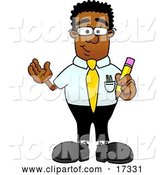 Vector Illustration of a Cartoon Black Business Man Mascot Holding a Yellow Pencil by Toons4Biz
