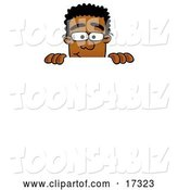 Vector Illustration of a Cartoon Black Business Man Mascot Peeking over a Surface by Toons4Biz