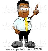 Vector Illustration of a Cartoon Black Business Man Mascot Pointing Upwards by Toons4Biz