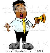 Vector Illustration of a Cartoon Black Business Man Mascot Screaming into a Megaphone by Toons4Biz