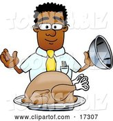 Vector Illustration of a Cartoon Black Business Man Mascot Serving a Thanksgiving Turkey on a Platter by Toons4Biz