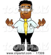 Vector Illustration of a Cartoon Black Business Man Mascot Standing with His Arms out by Toons4Biz