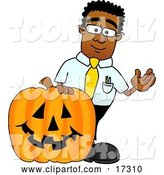 Vector Illustration of a Cartoon Black Business Man Mascot with a Carved Halloween Pumpkin by Toons4Biz