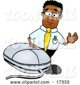 Vector Illustration of a Cartoon Black Business Man Mascot with a Computer Mouse by Toons4Biz