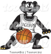 Vector Illustration of a Cartoon Black Jaguar Mascot Dribbling a Basketball by Toons4Biz