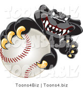 Vector Illustration of a Cartoon Black Jaguar Mascot Grabbing a Baseball by Toons4Biz