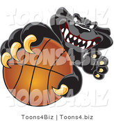 Vector Illustration of a Cartoon Black Jaguar Mascot Grabbing a Basketball by Toons4Biz