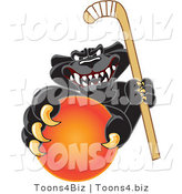 Vector Illustration of a Cartoon Black Jaguar Mascot Grabbing a Field Hockey Ball by Toons4Biz