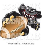 Vector Illustration of a Cartoon Black Jaguar Mascot Grabbing a Football by Toons4Biz