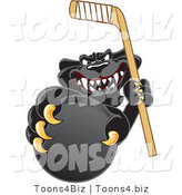 Vector Illustration of a Cartoon Black Jaguar Mascot Grabbing a Hockey Puck by Toons4Biz