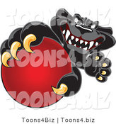 Vector Illustration of a Cartoon Black Jaguar Mascot Grabbing a Red Ball by Toons4Biz