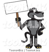 Vector Illustration of a Cartoon Black Jaguar Mascot Holding a Blank Sign by Toons4Biz
