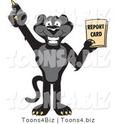 Vector Illustration of a Cartoon Black Jaguar Mascot Holding a Report Card by Toons4Biz
