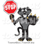 Vector Illustration of a Cartoon Black Jaguar Mascot Holding a Stop Sign by Toons4Biz