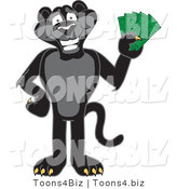 Vector Illustration of a Cartoon Black Jaguar Mascot Holding Cash by Toons4Biz