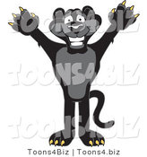 Vector Illustration of a Cartoon Black Jaguar Mascot Holding His Arms up by Toons4Biz