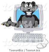 Vector Illustration of a Cartoon Black Jaguar Mascot in a Computer by Toons4Biz