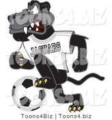 Vector Illustration of a Cartoon Black Jaguar Mascot Kicking a Soccer Ball by Toons4Biz