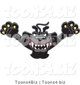 Vector Illustration of a Cartoon Black Jaguar Mascot Leaping by Toons4Biz
