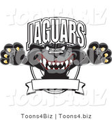 Vector Illustration of a Cartoon Black Jaguar Mascot Leaping Logo by Toons4Biz