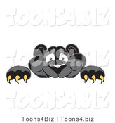 Vector Illustration of a Cartoon Black Jaguar Mascot Looking over a Surface by Toons4Biz