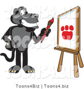 Vector Illustration of a Cartoon Black Jaguar Mascot Painting by Toons4Biz