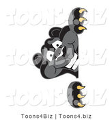 Vector Illustration of a Cartoon Black Jaguar Mascot Peeking by Toons4Biz