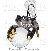 Vector Illustration of a Cartoon Black Jaguar Mascot Playing Lacrosse by Toons4Biz