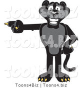 Vector Illustration of a Cartoon Black Jaguar Mascot Pointing Left by Toons4Biz