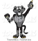 Vector Illustration of a Cartoon Black Jaguar Mascot Pointing up by Toons4Biz